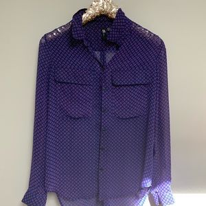 Kut from the Kloth Purple Geo Collared Blouse